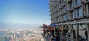 Mit Gurt, ohne Geländer: Spazierengehen in 340 Metern Höhe
