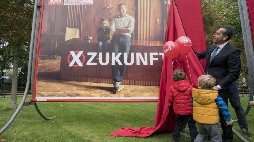 Präsentation der neuen SPÖ-Zukunfts-Plakate mit Kindern